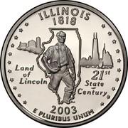 USA Quarter Dollar Illinois 2003 S KM# 343a ILLINOIS 1818 E PLURIBUS UNUM LAND OF LINCOLN 21ST STATE CENTURY coin reverse