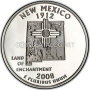 USA Quarter Dollar New Mexico 2008 KM# 422a NEW MEXICO 1912 E PLURIBUS UNUM LAND OF ENCHANTMENT coin reverse