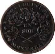Canada Sou Banque du Peuple ND KM# Tn3 BANQUE DU PEUPLE UN SOU MONTREAL coin reverse