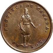 Canada Sou Quebec Bank Token 1852 KM# Tn20 PROVINCE DU CANADA UN SOU coin obverse
