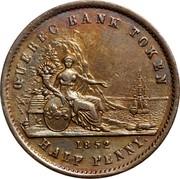 Canada Sou Quebec Bank Token 1852 KM# Tn20 QUEBEC BANK TOKEN 1852 HALF PENNY coin reverse