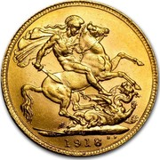 Canada Sovereign George V 1918 C KM# 20 *YEAR* B. P. coin reverse