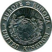UK 1/2 ECU British Lion 1992 UNC X# 13 ∙EUROPE EUROPA∙ UNITED KINGDOM coin obverse