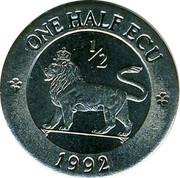 UK 1/2 ECU British Lion 1992 UNC X# 13 ONE HALF ECU 1/2 1992 coin reverse