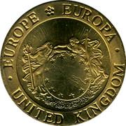 UK 1/4 ECU British Parliament Building 1992 UNC X# 12 ∙EUROPE EUROPA∙ UNITED KINGDOM coin obverse
