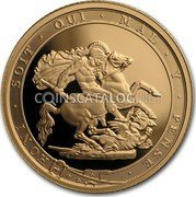 UK 1/4 Sovereign 200th Anniversary of the Modern Sovereign 2017 Proof HONI∙SOIT∙QUI∙MAL∙Y∙PENSE∙ BP coin reverse