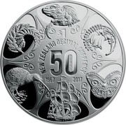 New Zealand $1 50 Years of New Zealand Decimal Currency Coin 2017 Proof NEW ZEALAND DECIMAL CURRENCY $1 50 YEARS 1967 2017 coin reverse
