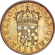 UK 1 Broad Oliver Cromwell 1656 KM# Pn25 ·16 56· PAX · QVÆRITVR · BELLO · coin reverse