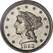 USA 1 Cent Cent Pattern 1853 Proof LIBERTY 1853 coin obverse