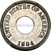USA 1 Cent (Holey Cent Pattern) KM# Pn1810 UNITED STATES OF AMERICA 1884 coin obverse