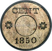 USA 1 Cent Ring Cent 1850 About a dozen known CENT 1850 coin obverse