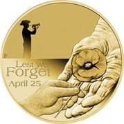 Australia 1 Dollar Anzac Day Lest We Forget 2018 P BU LETS WE FORGET APRIL 25 coin reverse