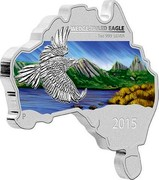 Australia 1 Dollar Australian Map Shaped Coin Series Wedge-tailed Eagle 2015 Proof KM# 2193 WEDGE-TAILED EAGLE 1 OZ 999 SILVER 2015 coin reverse