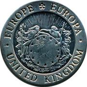 UK 1 ECU Bust of Britannia 1992 UNC X# 1 ∙EUROPE EUROPA∙ UNITED KINGDOM coin obverse