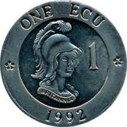 UK 1 ECU Bust of Britannia 1992 UNC X# 1 ONE ECU 1 1992 coin reverse