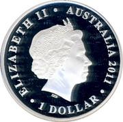 Australia $1 Tree Frog & Greater Blue Mountains 2011 P UNC ELIZABETH II AUSTRALIA 2011 IRB coin obverse