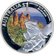 Australia $1 Tree Frog & Greater Blue Mountains 2011 P UNC AUSTRALIA $1 GREATER BLUE MOUNTAINS 1OZ 999 SILVER coin reverse