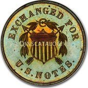 USA 10 Cents Postage Currency (Pattern) 1863 Proof EXCHANGED FOR U. S. NOTES coin obverse