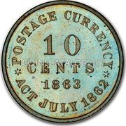 USA 10 Cents Postage Currency (Pattern) 1863 Proof POSTAGE CURRENCY 10 CENTS 1863 ACT JULY 1862 coin reverse