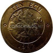 UK 10 ECU St.George and the Dragon 1992 UNC TEN ECU 10 1992 coin reverse