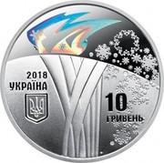 Ukraine 10 Hryven XXIII Olympic Winter Games 2018 Proof 10 ГРИВЕНЬ 2018 УКРАЇНА coin obverse
