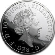 UK 10 Pounds Year of the Rooster 2017 Proof ELIZABETH II D G REG F D 10 POUNDS J.C coin obverse
