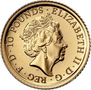 UK 10 Pounds Year of the Rooster 2017 ELIZABETH II D G REG F D 10 POUNDS J.C coin obverse
