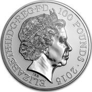 UK 100 Pounds Big Ben 2015 KM# 1328 ELIZABETH.D.G REG.F.D 100 POUNDS 2015 IRB coin obverse