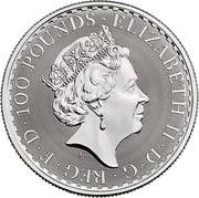 UK 100 Pounds Britannia 2018 ELIZABETH II ∙ D ∙ G ∙ REG ∙ F ∙ D ∙ 100 POUNDS ∙ J.C coin obverse