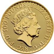 UK 100 Pounds Britannia (Oriental Border) 2018 ELIZABETH II ∙ D ∙ G ∙ REG ∙ F ∙ D ∙ 100 POUNDS ∙ J.C coin obverse
