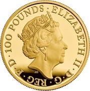 UK 100 Pounds Queen's Beasts - Lion of England 2017 Proof ELIZABETH II ∙ D ∙ G ∙ REG ∙ F ∙ D ∙ 100 POUNDS ∙ J.C coin obverse