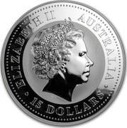 Australia 15 Dollars Year of the Rooster 2005 ELIZABETH II AUSTRALIA 15 DOLLARS IRB coin obverse