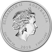 Australia 2 Dollars Lunar Dog (Colorized) 2018 ELIZABETH II AUSTRALIA 2 OZ 9999 AG 2018 2 DOLLARS IRB coin obverse