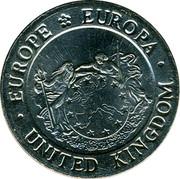 UK 2 ECU Britannia 1992 UNC X# 15 ∙EUROPE EUROPA∙ UNITED KINGDOM coin obverse