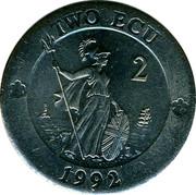 UK 2 ECU Britannia 1992 UNC X# 15 TWO ECU 2 1992 coin reverse