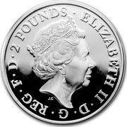 UK 2 Pounds Year of the Rooster 2017 2 POUNDS ELIZABETH II D G REG F D J.C coin obverse