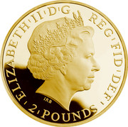 UK 2 Pounds Year of the Sheep 2015 ELIZABETH'II'D'G REG'FID'DEF'2'POUNDS' IRB coin obverse