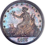 USA 20 Cents (1/5 Dollar) Pattern 1875 Proof KM# Pn1458 coin obverse