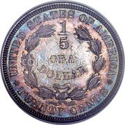USA 20 Cents (1/5 Dollar) Pattern 1875 Proof KM# Pn1458 UNITED STATES OF AMERICA 1/5 OF A DOLLAR TWENTY CENTS coin reverse