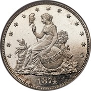 USA 20 Cents Pattern 1874 Proof; About 3-4 surviving KM# Pn1420 LIBERTY 1874 coin obverse