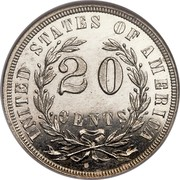 USA 20 Cents Pattern 1874 Proof; About 3-4 surviving KM# Pn1420 UNITED STATES OF AMERICA 20 CENTS coin reverse