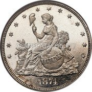USA 20 Cents Pattern 1874 Proof; About 3-4 surviving KM# Pn1420 coin obverse
