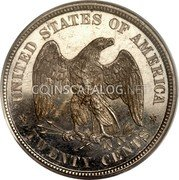 USA 20 Cents Pattern 1875 Proof KM# Pn1464 UNITED STATES OF AMERICA TWENTY CENTS coin reverse