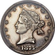 USA 20 Cents Sailor Head 1875 Silver; Judd# 1392 KM# Pn1454 LIBERTY 1875 coin obverse
