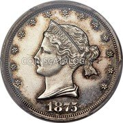 USA 20 Cents Sailor Head 1875 Proof; 6 known KM# Pn1454 coin obverse