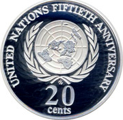Australia 20 Cents United nations Fiftieth Anniversary 1998 Proof KM# 295a UNITED NATIONS FIFTIETH ANNIVERSARY 20 CENTS coin reverse