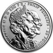 UK 20 Pounds Platinum Wedding Anniversary 2017 ELIZABETH II D G REG F D PHILIP PRINCEPS 20 POUNDS EM coin obverse