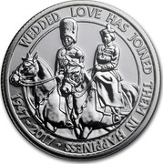 UK 20 Pounds Platinum Wedding Anniversary 2017 WEDDED LOVE HAS JOINED THEM IN HAPPINESS 1947 - 2017 JB coin reverse