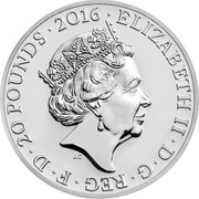 UK 20 Pounds (Queen's 90th Birthday) ELIZABETH II D G REG F D 20 POUNDS 2016 J.C coin obverse