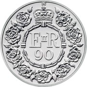UK 20 Pounds (Queen's 90th Birthday) E II R 90 CJH coin reverse